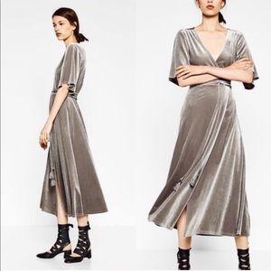 Zara gray velvet wrap dress